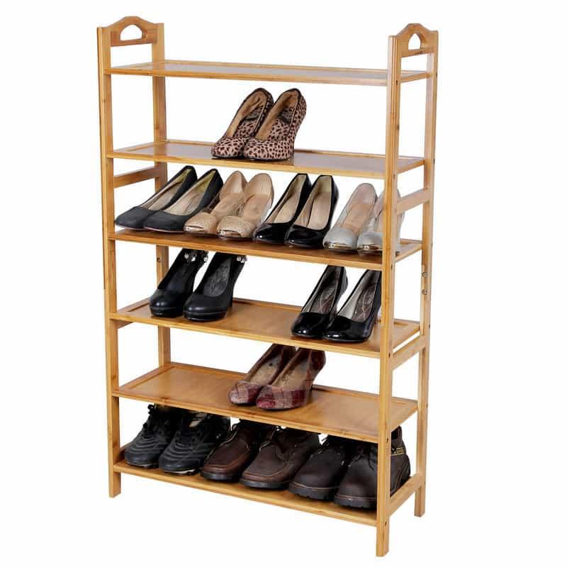 songmics bamboo 6 tier shoe rack entryway shoe shelf storage organizer ulbs26n