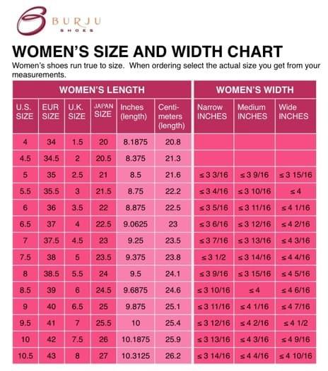 women shoe width chart