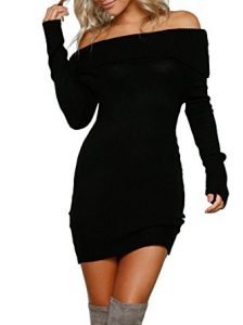 Best dress to wear with fuck me boots Simplee Apparel Women's Long Sleeve Off Shoulder Knitted Sweater Dress