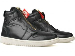 Air Jordan 1 Retro High-top Zip Basketball Sneakers (Black Leather)