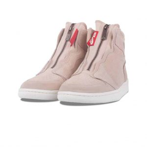Jordan Nike Women's Air 1 High Zip Basketball Shoe beige color