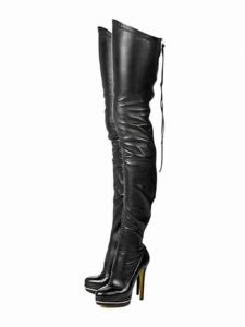 Termarnoov Women Thin High Heel Thigh High Come Fuck Me Boots PU Leather Platform Boots